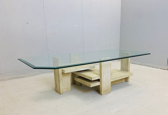 Brutalist Coffee Table in Travertine by Willy Ballez