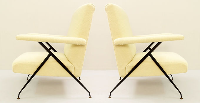 1950's Mid century Armchairs. Adjustable Reclining Backrest from Italy.