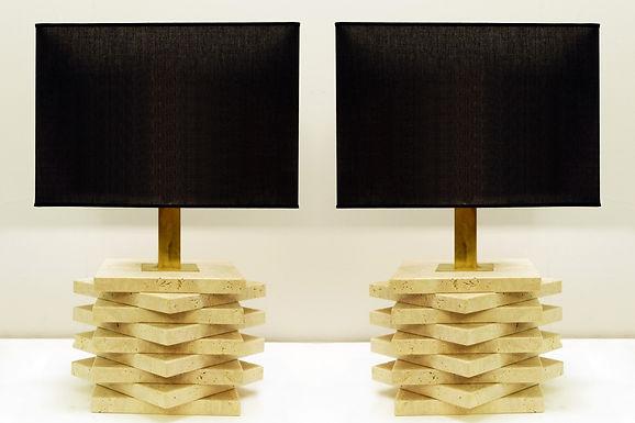 Pair of Travertine Lamps