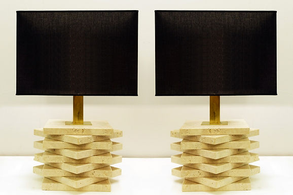 Pair of Travertine Lamps