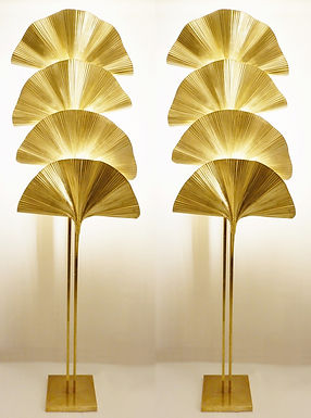 Pair of Extra Tall Floor Lights with pleated fan lightshades