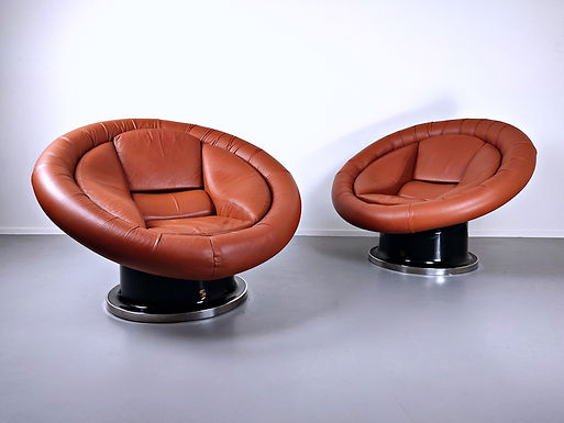 Pair Of Large Space Age Leather Armchairs By Saporiti, Italy