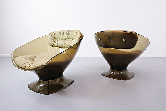 Pair Of Raphael Raffel Lucite Pod Amrchairs, 1960s