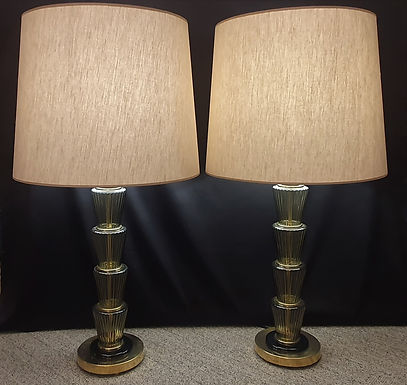 Large Pair of Murano Glass Lamps