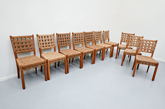 Set Of 10 Oak And Rope Chairs, 1940s