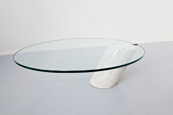 Model K1000 Travertine & Glass Coffee Table By Team Form