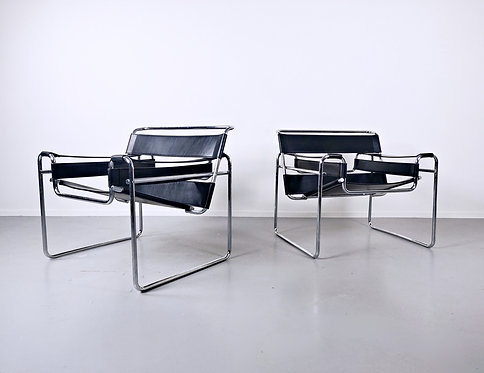 Pair Of Armchairs Model Wassily By Marcel Breuer