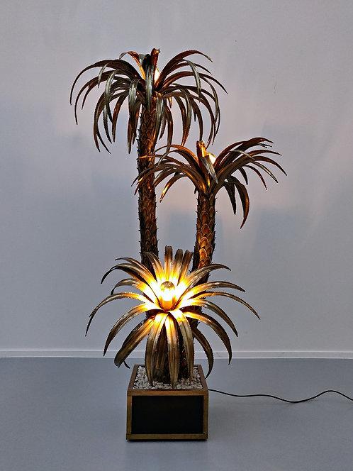 Mid Century Brass Palm Floor Lamp
