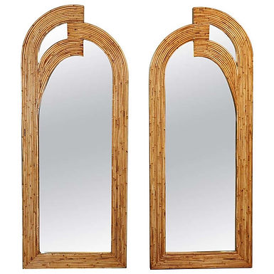 Pair of mid-century Rattan Mirrors