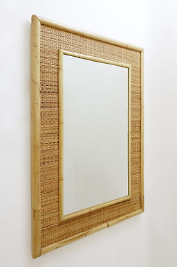 Italian Bamboo And Rattan Mirror, 1970s