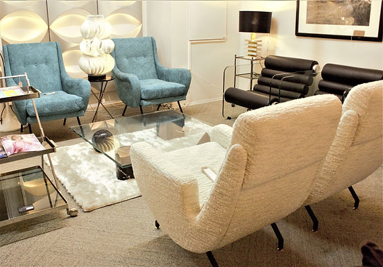 Pair of contemporary armchairs mid-century style