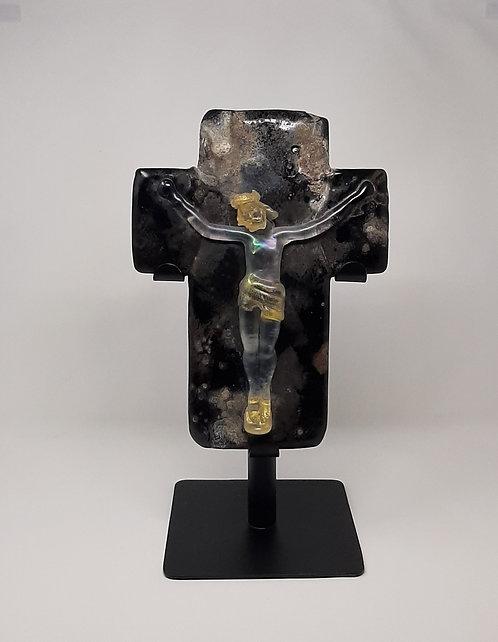 mid century crucifix in glass