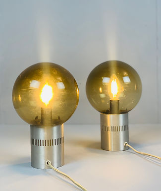 Pair of Mid Century Candle Lamps in Chrome and Smoked Glass