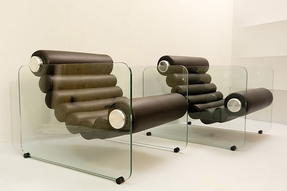 """Pair of mid century modern """"Hyaline"""" Chairs by Fabio Lenci"""