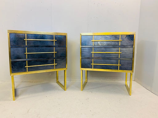 Pair of Mid Century Blue Black Bedside Cabinets