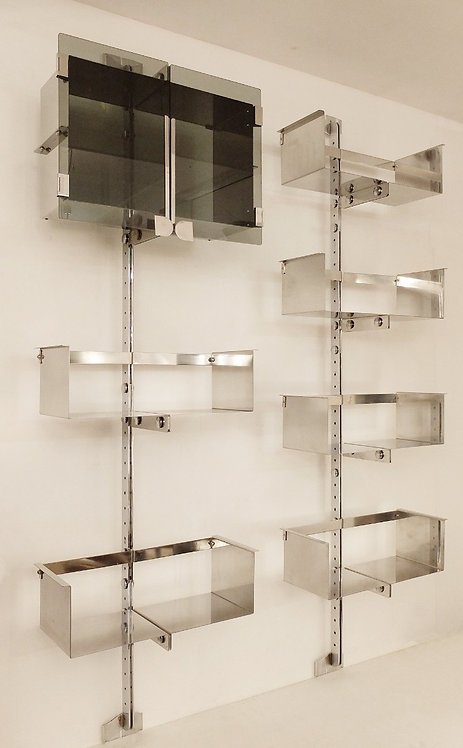 Pair of Mid Century Shelf Units Chrome and Brass