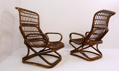 Pair of Cane Chairs by Tito Agnoli