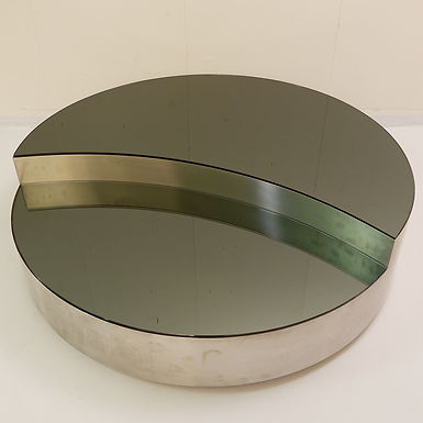 1970 Chrome and Smoked Glass Coffee Table (Italy)