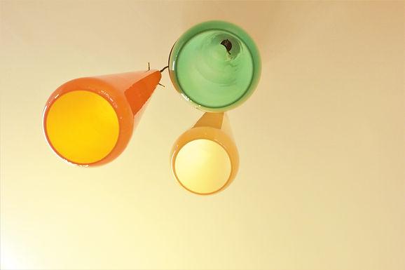 Mid Century Tricolore Pendant Light. Murano Glass. Stilnovo