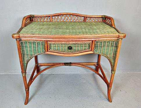 Vintage Wicker Desk Table (Italy)