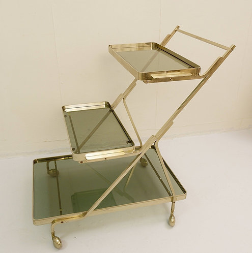 Mid Century Tea Trolley Silver and Smoked Glass