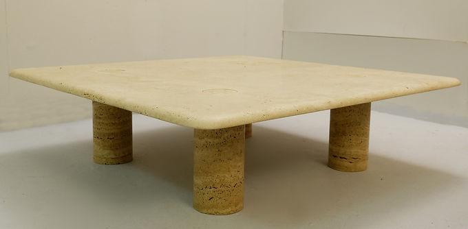 Square Travertine coffee table by Angelo Mangiarotti