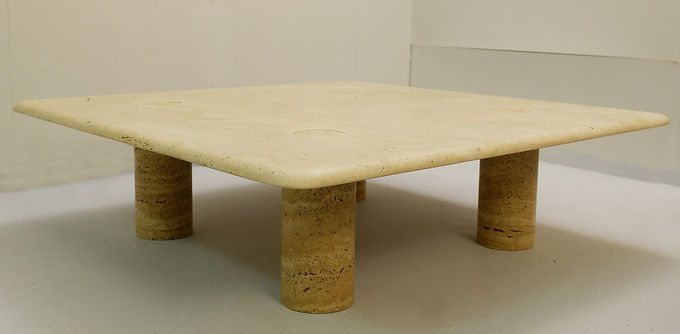 Square Travertine coffee table by Angelo Mangiarotti