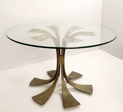1980's Hammered Brass Table by Luciano Frigerio