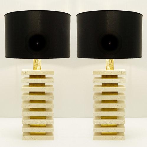 Tall Mid Century Style Lamps Travertine