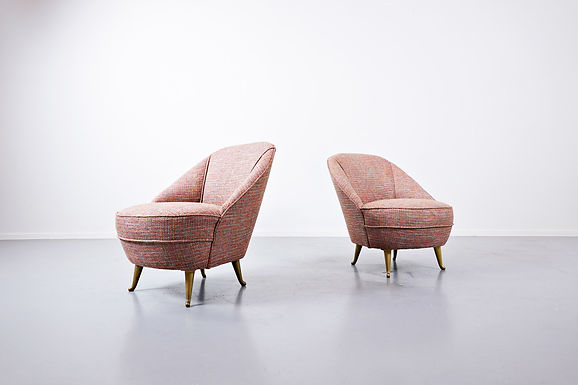 Pair Of Italian Easy Chairs, 1950s - New Upholstery