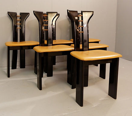 Mid Century Black Lacquer Dining Chairs by Pierre Cardin