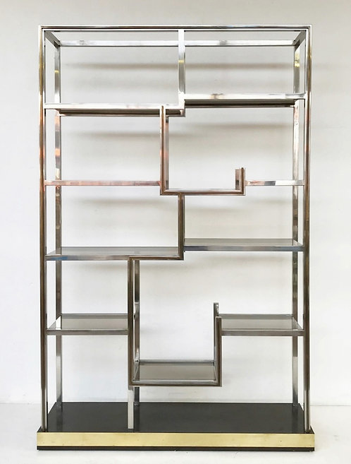 1970 Chrome and Brass Shelves Romeo Rega