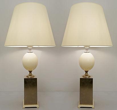Pair of Mid Century Ostrich Lamps Maison Jansen Style