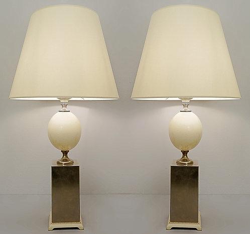 Mid Century Ostrich Lamps Maison Jansen Style Pair