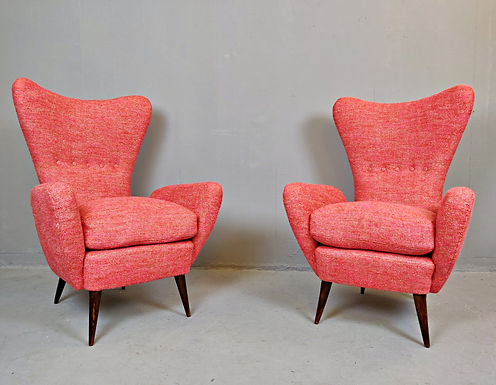 Pair of Mid Century Wingback Armchairs (Italy)