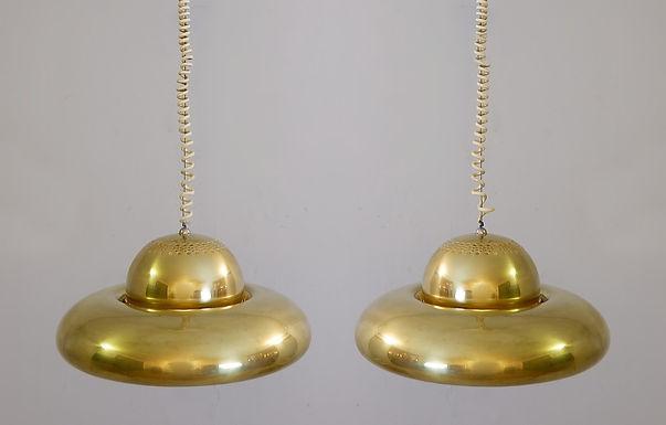 """1960's brass pendant lights """"Fior di Loto"""""""