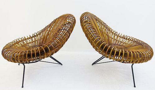 Mid Century Modern Lounge Chairs in Cane back to back
