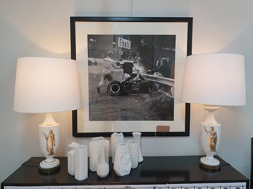 Pair of Mid Century Lamps Ceramic with Neo Classic Design
