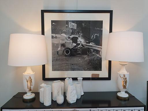 1940's Pair of Mid Century Ceramic Table Lamps