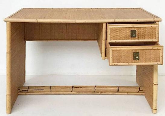 1970's Del Vera Office Desk in Wicker and Bamboo