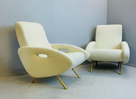 Pair of Italian Armchairs in White Boucle