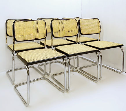 1970's vintage set of 6 cane dining chairs, (Italy)