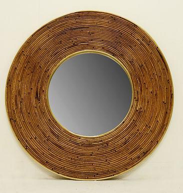 Large Mid Century Modern Round Mirror with Wicker Frame