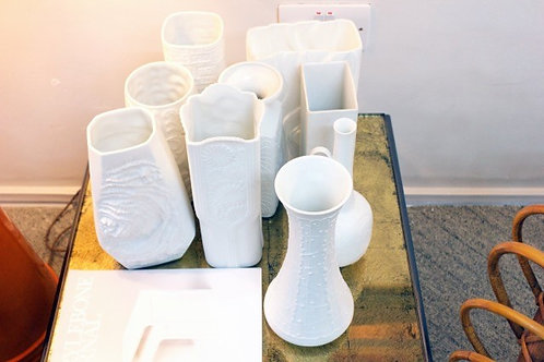 Mid Century Porcelain Vases Wide Angle