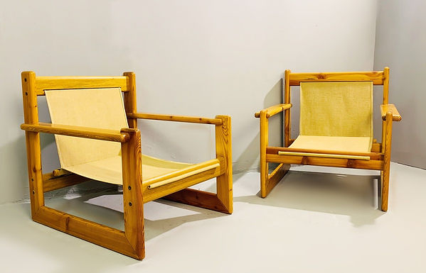"Pair of Mid Century Lounge Chairs ""Safari"""