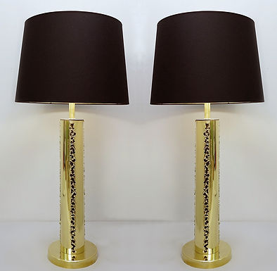 Pair of Italian Brutalist Style Lamps in Brass