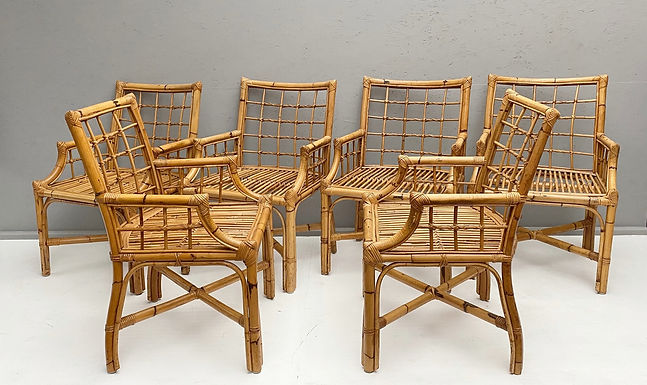 Set of 6 Rattan and Cane Dining Chairs