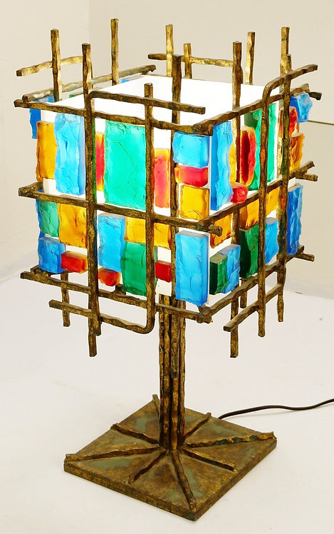 1950's Brutalist Table Lamp in the Style of Poliarte