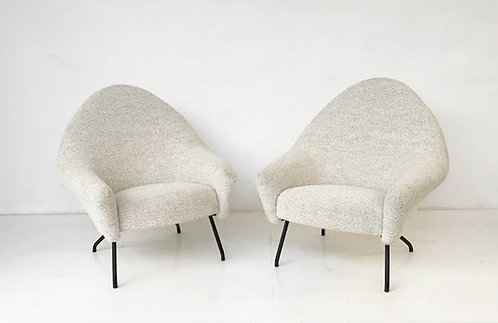 Pair of Mid Century Armchairs by Andre Motte for Steiner