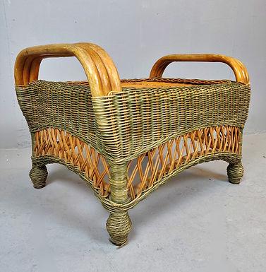 Vintage Wicker Footstool (Italy)